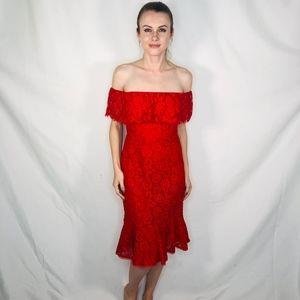 BCBG OFF Burnt Red Open Shoulder Lace Dress 6 NWT